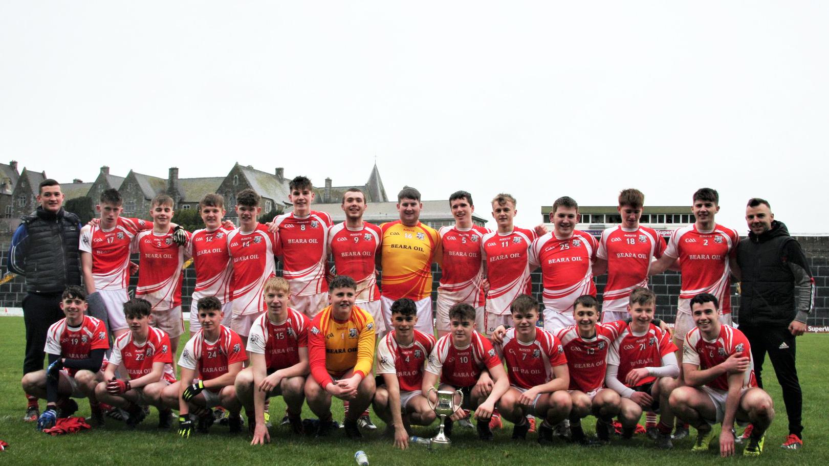 2019 / 2020 Corn Sheáin Uí Mhaolomhnaigh (Under 19 D Football) Final – Beara Community School 3-8 Meán Scoil Castlegregory 2-4