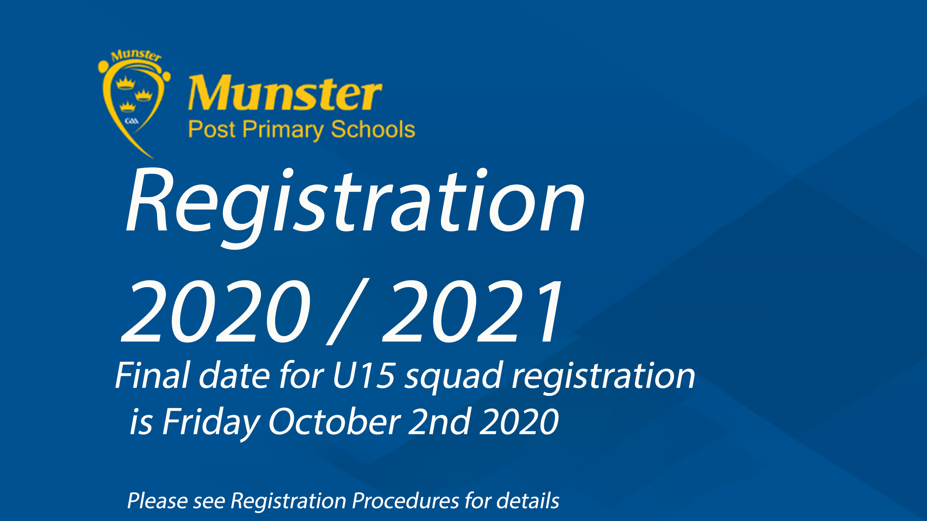 Registration now open for 2020 / 2021 Under 15 Hurling and Football